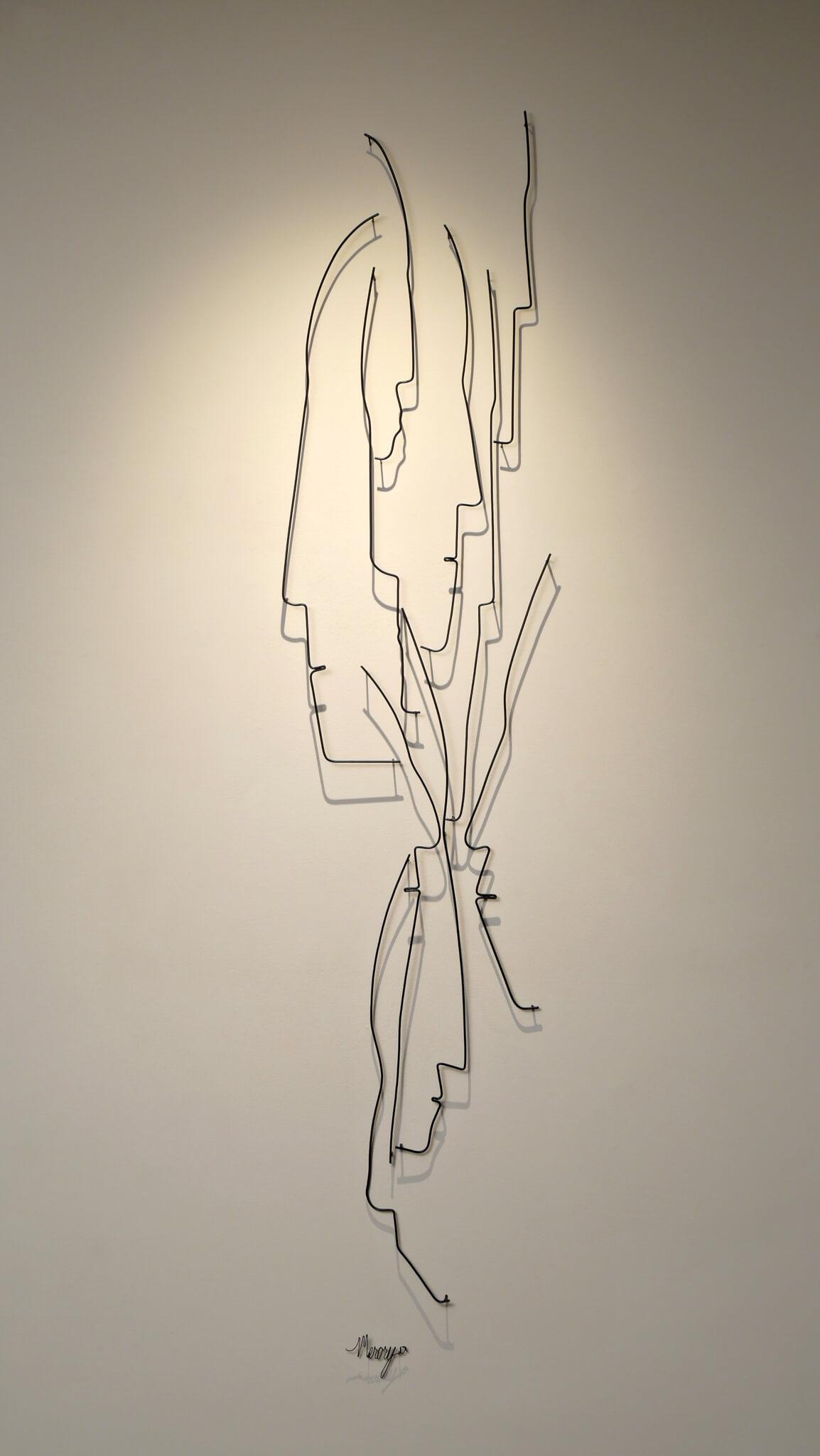 Pamela Merory Dernham, wire sculpture, Vertical Landscape #3