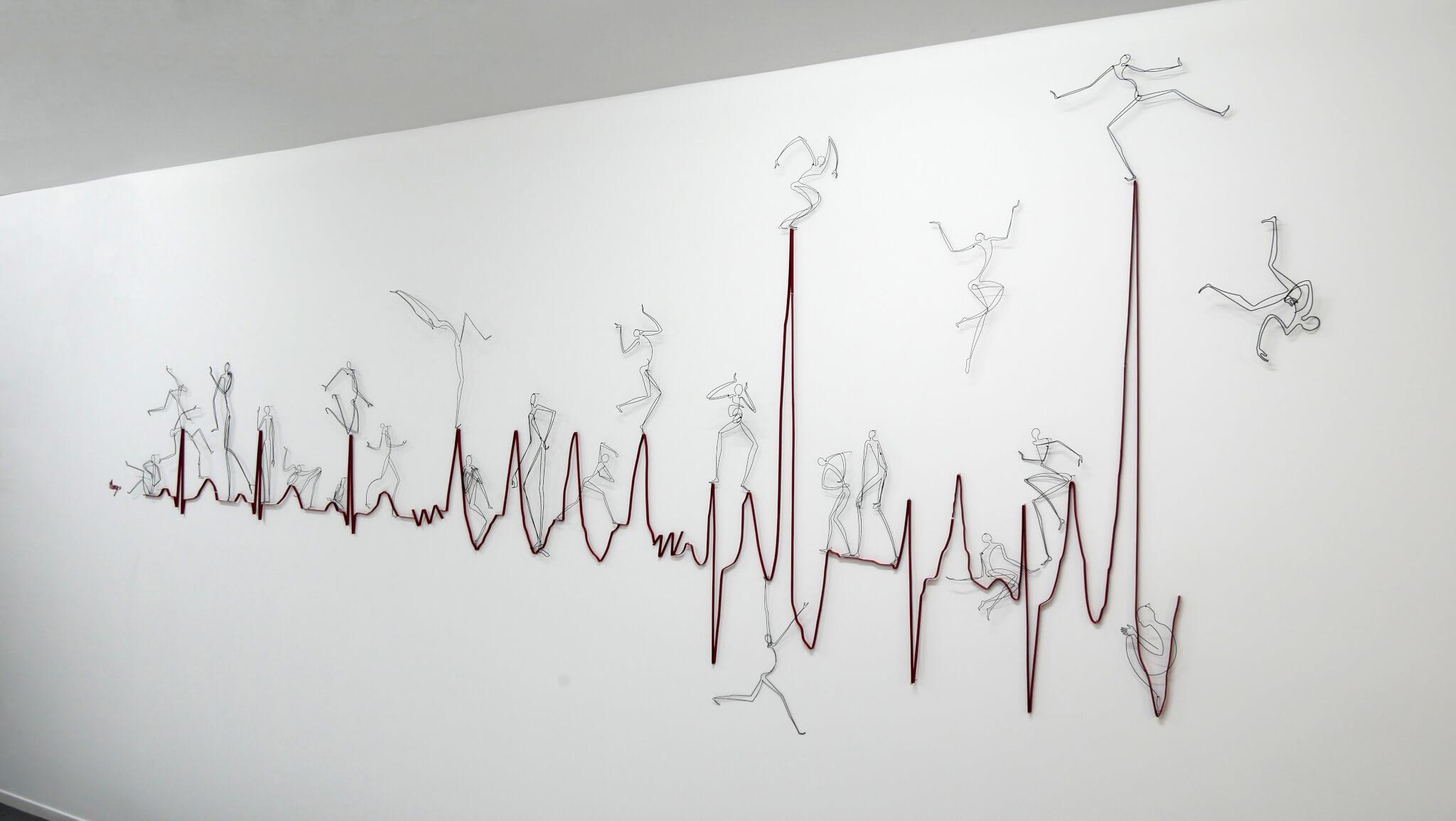 """Pamela Merory Dernham sculpture, """"Heart, Attack."""" angle"""